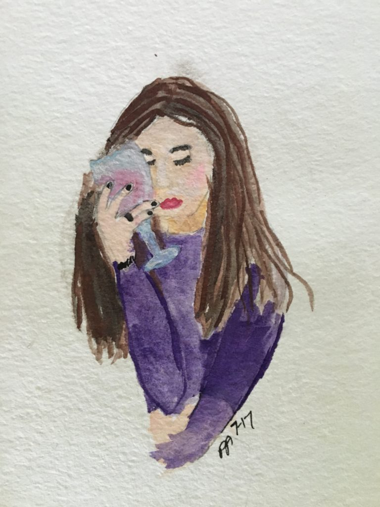 watercolor, girl, wine, tired, thinking, purple