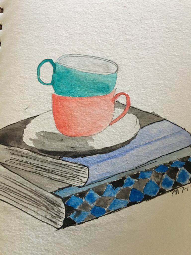 watercolor, books, tea, relaxing, blue, black,
