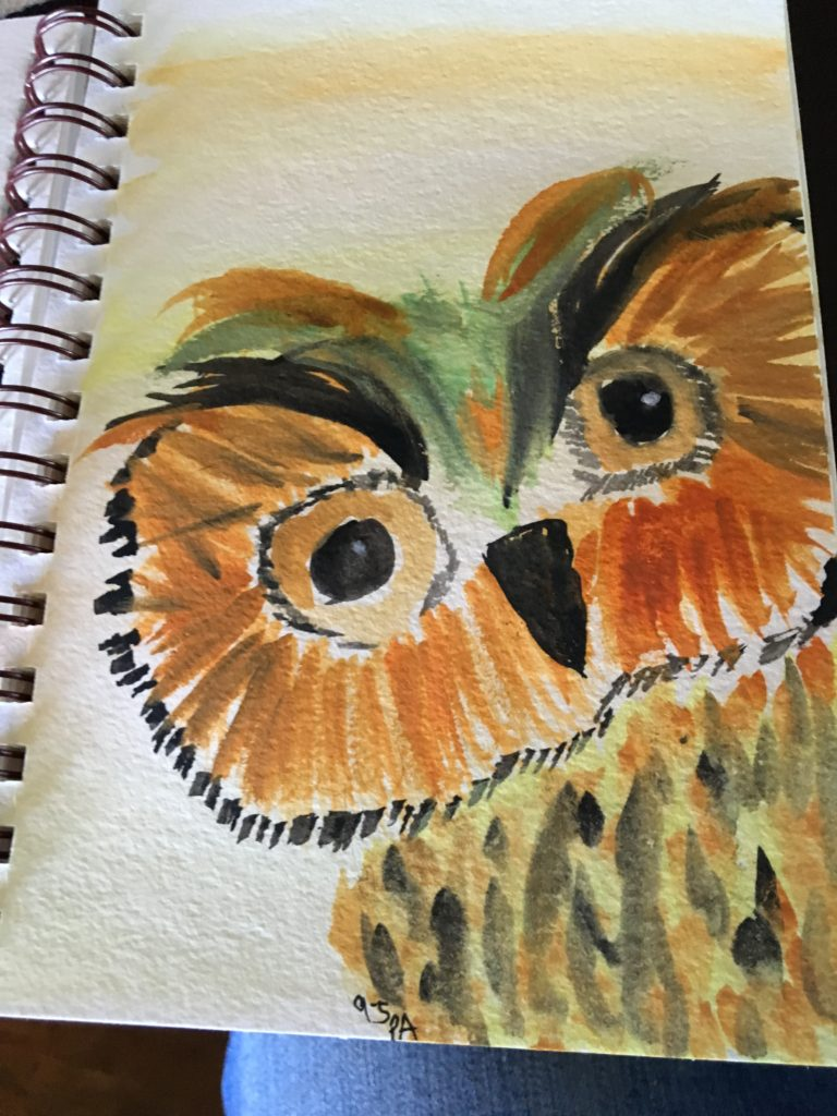 watercolor, owl, fall, favorite time of year, brown, black, owls