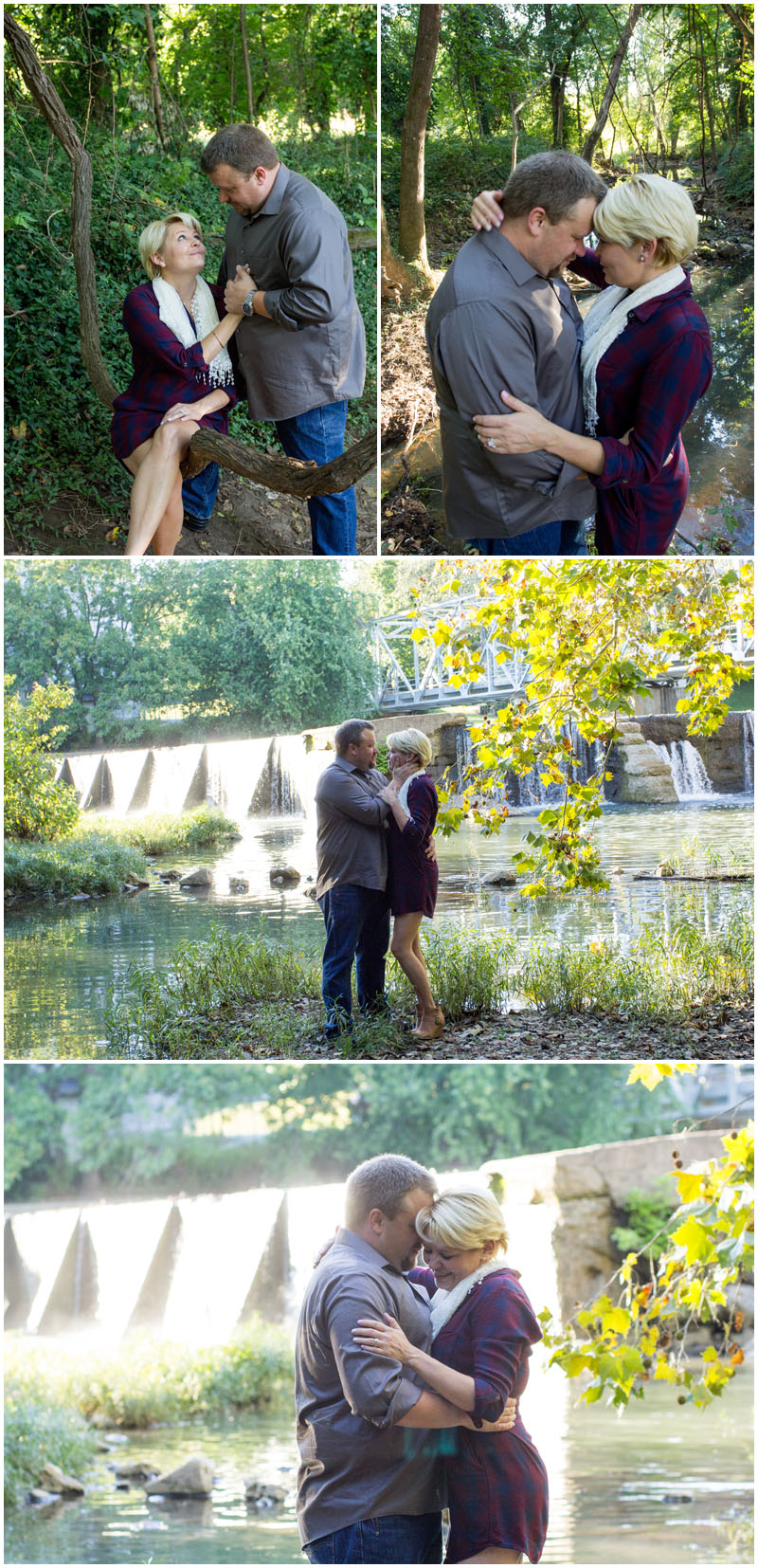 engagement session, engagement, nature, mill, ozark, Missouri, red, shells, EMS, Emergency Medical Services , ambulance, ring, blue