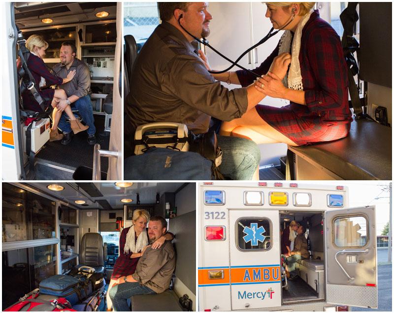 engagement session, engagement, nature, mill, ozark, Missouri, red, shells, EMS, Emergency Medical Services , ambulance, ring, blue